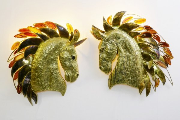 Pair of Horse Head Sconces By Isabelle Masson For Faure, 1960s