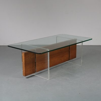 Coffee table made of plexiglass & wood, 1970s