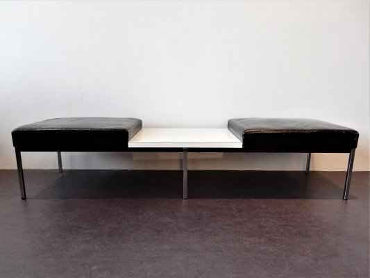 2 x Black leather bench with white laminated table by Thonet, 1960's