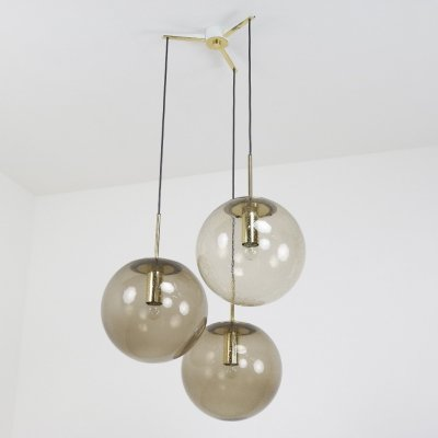 Large Brass & Smoked bubble glass hanging lamps by Glashütte Limburg, 1960s