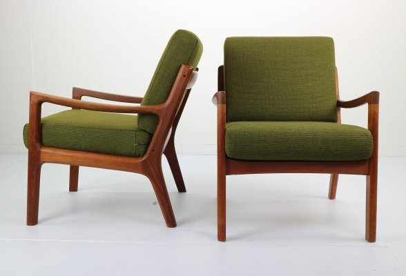 Pair of Ole Wanscher Senator Model 169 Lounge Chairs, Denmark 1950s