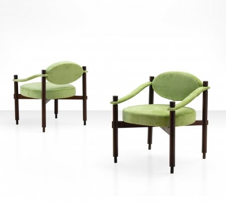Pair of Armchairs by Raffaella Crespi in Green Textured Velvet, Italy 1960s