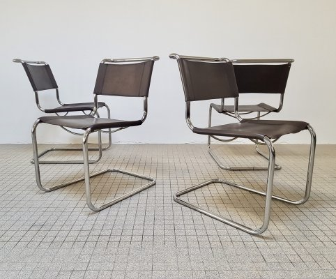 Vintage S33 dining chairs in brown leather by Mart Stam for Thonet, 1980s