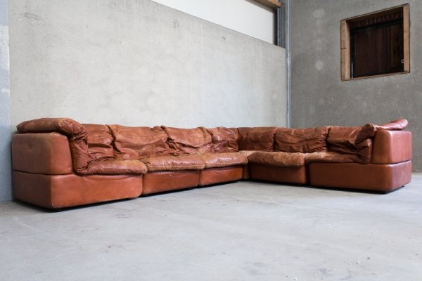 Modular Sofa by Rolf Benz in Cognac Leather