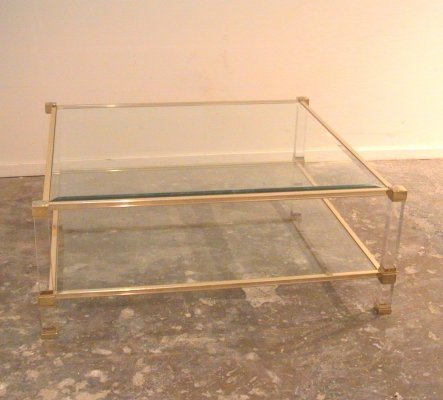 Pierre Vandel Lucite & Brass Coffee Table
