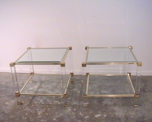 Pair of Pierre Vandel lucite & metal two tiered side tables