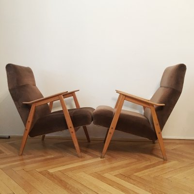 Pair of Light Brown Velvet Armchairs, 1960s
