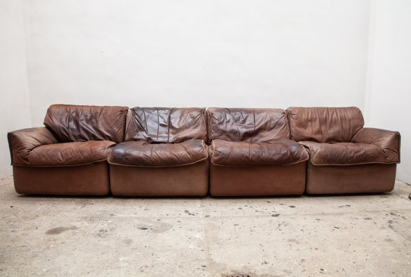 Brown Leather Modular Sectional Sofa by COR, Germany 1970s