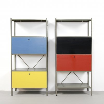 Dutch minimalist red yellow blue 'Model 663' cabinets by Wim Rietveld for Gispen