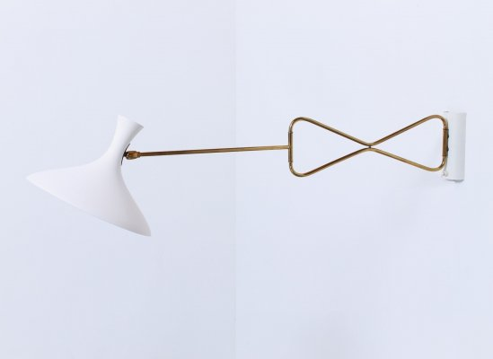 White & brass fifties adjustable diabolo wall light by Cosack