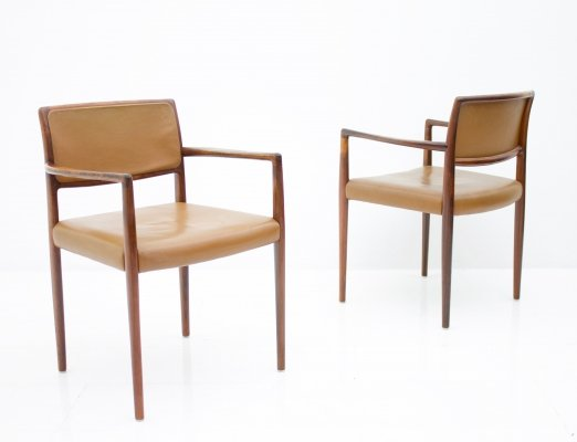 Pair of Scandinavian Armchairs in Rosewood & brown Leather, 1960s