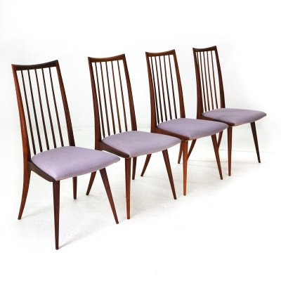 Lot of Four Lübke Teak Dining Chairs by Ernst Martin Dettinger with Lilac Seat Covers