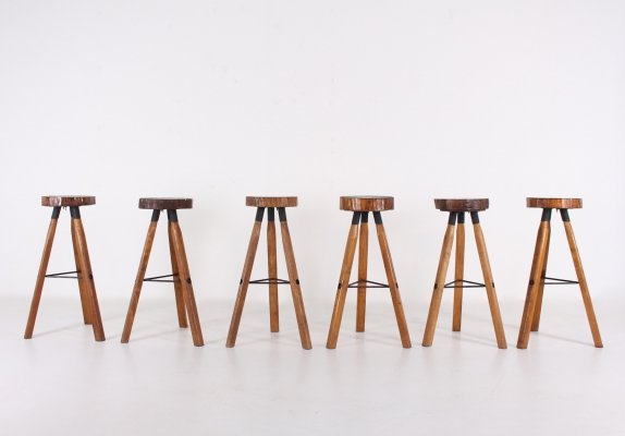 Set of 6 Industrial brutalist french stools