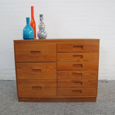 Vintage pine wood chest of drawers, 1970s