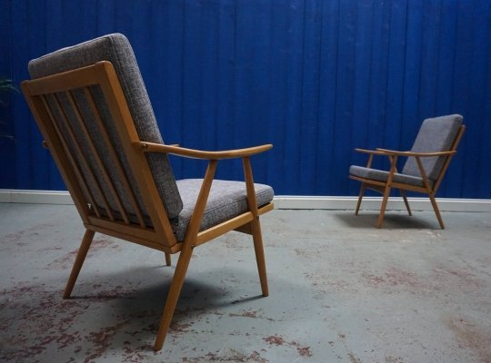 Pair of Mid Century Modern Czech Armchairs by Thonet, 1960's