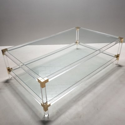 Lucite & gilt metal 2-tiers coffee table