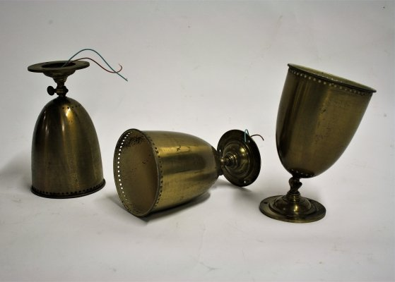Set of 3 Antique copper wall lights, 1950s