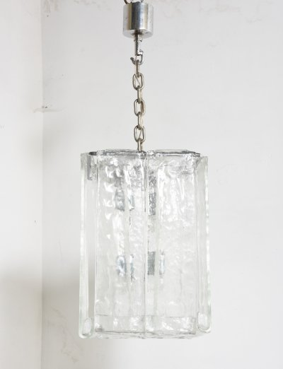 Pair of Iced Glass Interlocking Panel Chandeliers by Kalmar