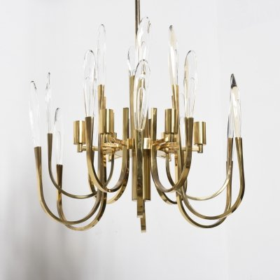 Brass Sciolari Chandelier with faceted Crystals