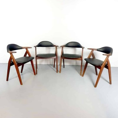 Set of 4 Midcentury vintage Dutch design cowhorn chairs, 1950s