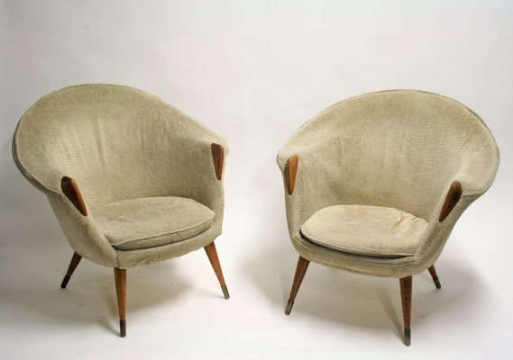 Pair of Danish Lounge Chairs by Nanna Ditzel, 1950s