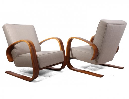 Pair of Walnut Armchairs By Miroslav Navratil, c1950