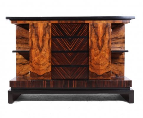 Italian Art Deco Walnut & Macassar Ebony Commode, c1930