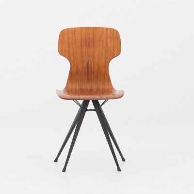 Italian Iron & Teak Chair, 1950s