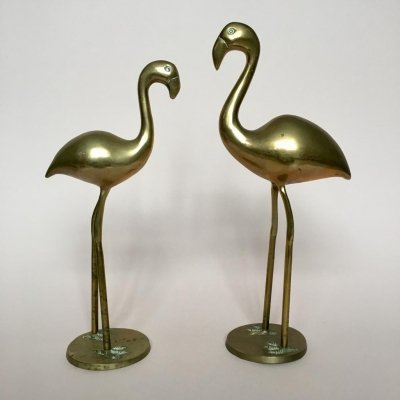 Pair of Vintage German Brass Flamingos, 1970s