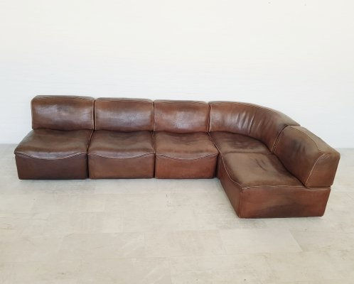 De Sede DS15 brown cognac saddle leather sofa, 1970s