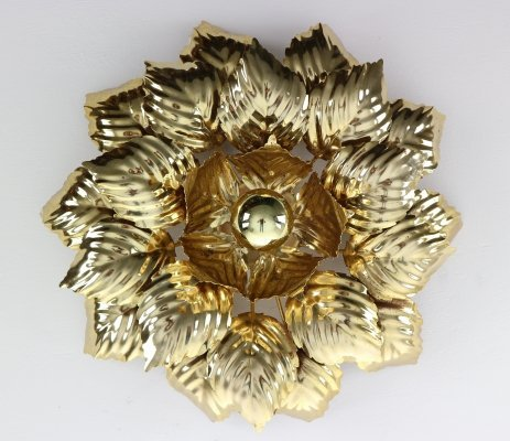 Brass Leaves Flush mount by Willy Daro, Belgium 1970s