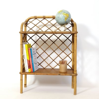 French rattan shelves, 1960s-1970s