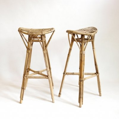 Pair of high rattan stools, 1950s-1960s
