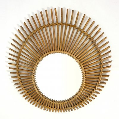 Sun shaped rattan mirror, 1960s