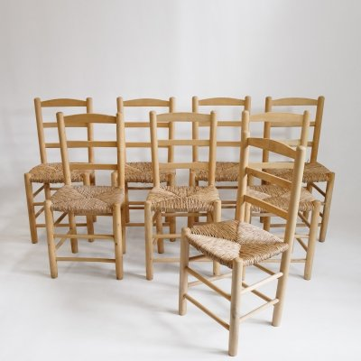 Set of 8 chairs in light wood & straw