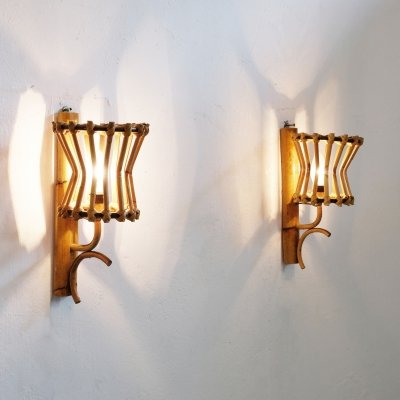 Pair of vintage Italian bamboo wall lamps