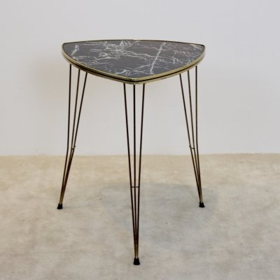 Formica & Brass Tripod Side Table with Marble print, Belgium 1950s