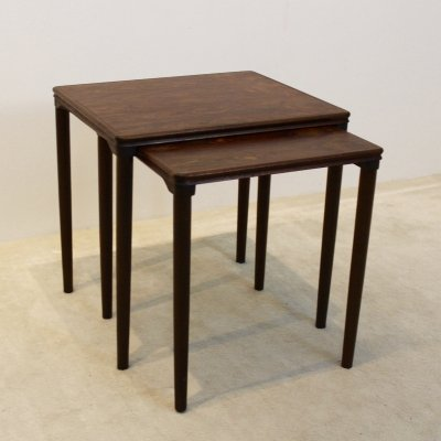 Set of dark Oak Nesting Tables by E. W. Bach for Møbelfabrikken Toften, Denmark 1960s