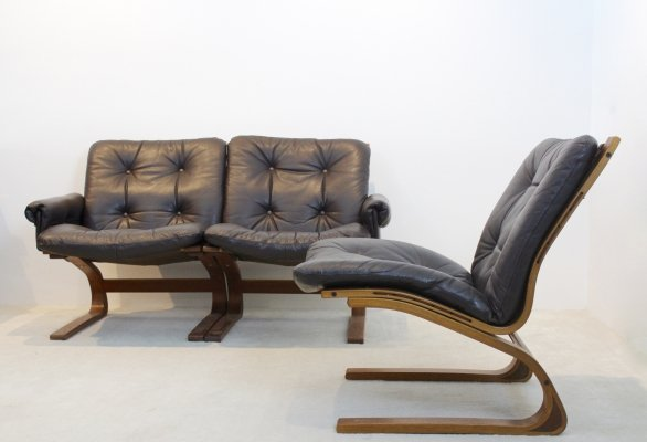 Norwegian Teak & Leather Kengu Sofa set by Elsa & Nordahl Solheim for Rybo Rykken