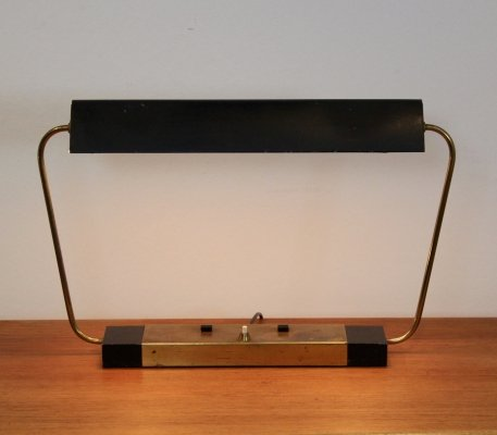 Rare Stilnovo Modernist Metal & Brass Table or Desk Light, Italy 1960s