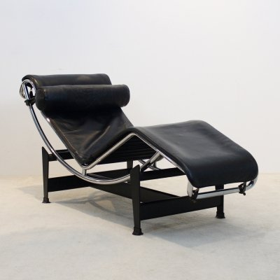 Early Edition Le Corbusier LC4 for Cassina in Black Leather