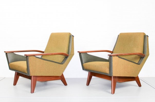 Set of two mid century organic shaped lounge chairs