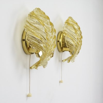 Pair of Brass & Murano glass wall sconces, Italy 1960s