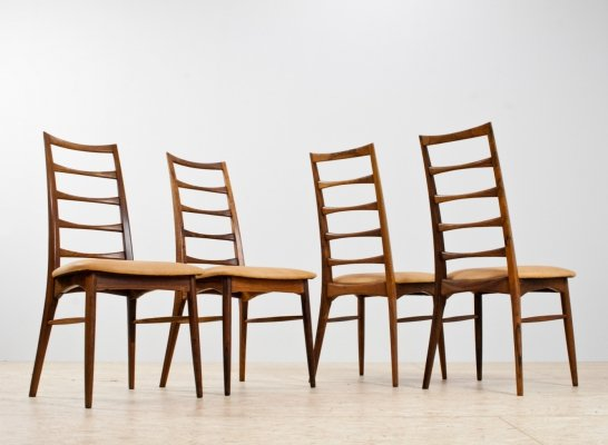 Rosewood & leather dining chairs by Niels Kofoed, Denmark 1960s