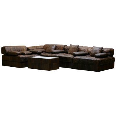 Vintage Brown Modular Patchwork Leather Sofa DS88 by De Sede, Switzerland 1970s