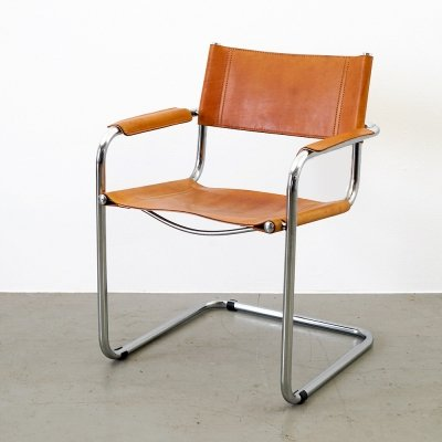 Industrial design Honey-colored leather swinging chair