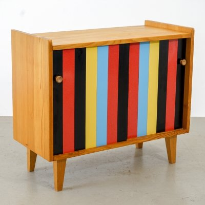 Vintage storage cabinet with sliding doors (colorful synthetic resin)