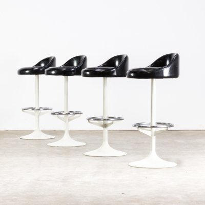 Set of 4 Metal, chrome & skai barstools, 1970s