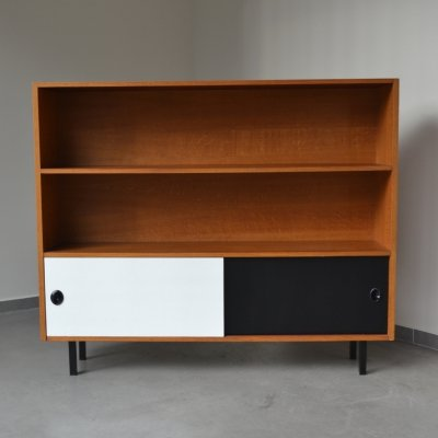 Open storage cabinet with two tone sliding doors, Denmark 1970's