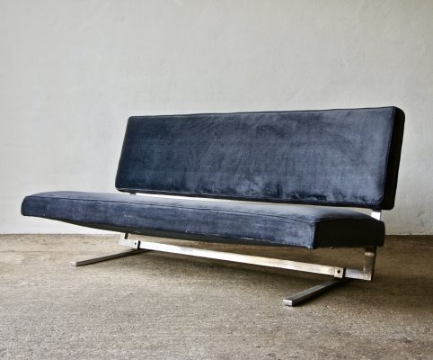 1970's Velvet And Chrome Sofa